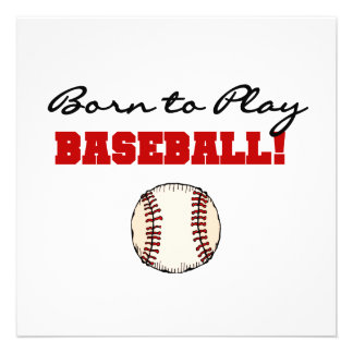 Born to Play Baseball T-shirts and Gifts Personalized Invitation