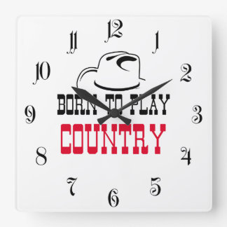 Born to play country square wall clock