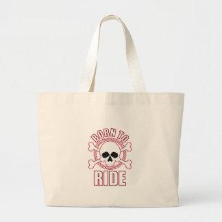 Born To Ride Skull Crossbones Jumbo Tote Bag