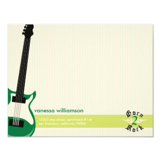 Born to Rock! Custom Flat Note Cards (green) 11 Cm X 14 Cm Invitation Card