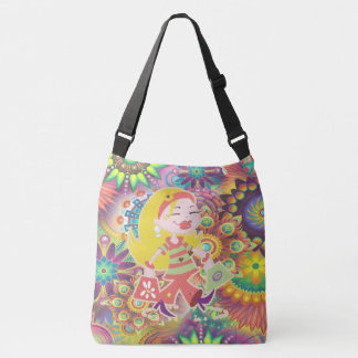 Born to Shop Colorful Funky Shopping Diva Crossbody Bag