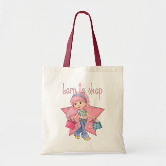 born to shop gift tote bag, birthday tote, shop budget tote bag