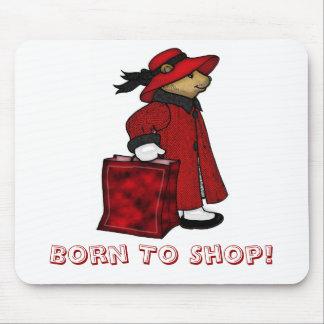 Born to shop mousemat, mousepad, bear shopping mouse pad