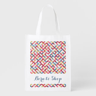 Born to shop patterned colorful bag