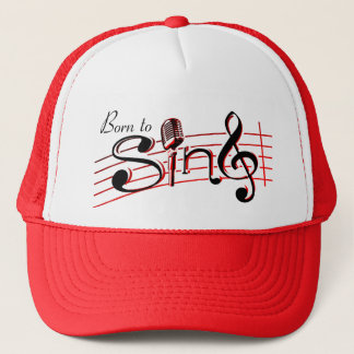 Born to sing retro mic clef graphic hat