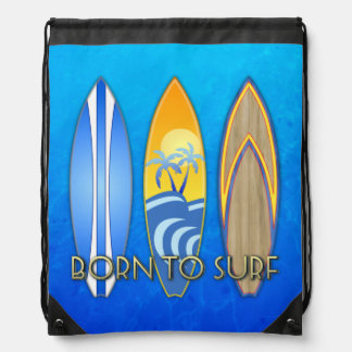 Born To Surf Drawstring Backpack