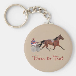 Born to Trot Basic Round Button Key Ring