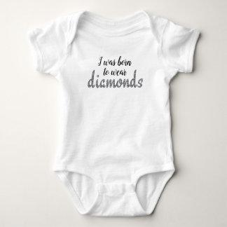 Born to Wear Diamonds faux-bling design Baby Bodysuit