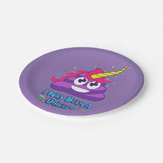 Born Unicorn Emoji Poop 7 Inch Paper Plate