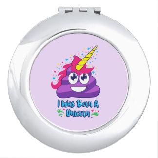 Born Unicorn Poop Emoji Compact Mirror
