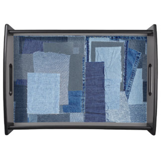 Boro Boro Blue Jean Patchwork Denim Shibori Serving Tray