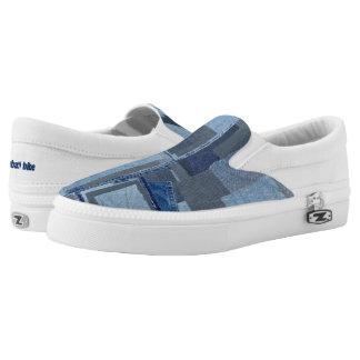 Boro Boro Blue Jean Patchwork Denim Shibori Slip-On Shoes