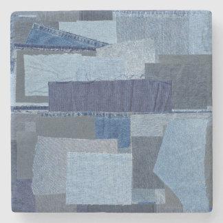Boro Boro Blue Jean Patchwork Denim Shibori Stone Coaster