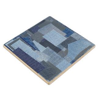 Boro Boro Blue Jean Patchwork Denim Shibori Wood Coaster