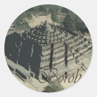 Borobudur Temple Screnary Round Sticker