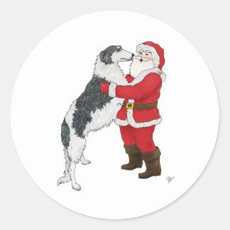 Borzoi Christmas Greeting Classic Round Sticker