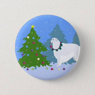 Borzoi Decorating Christmas Tree in the Forest 6 Cm Round Badge