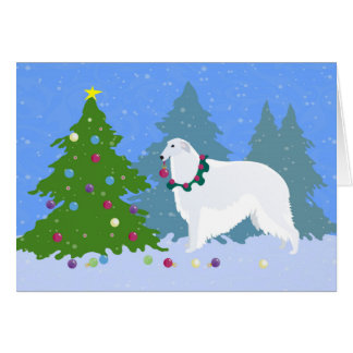 Borzoi Decorating Christmas Tree in the Forest Card