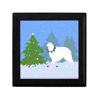 Borzoi Decorating Christmas Tree in the Forest Gift Box