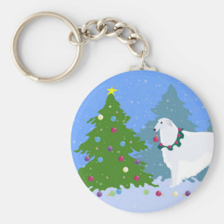 Borzoi Decorating Christmas Tree in the Forest Key Ring