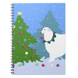 Borzoi Decorating Christmas Tree in the Forest Spiral Notebook