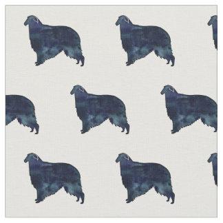 Borzoi Dog Black Watercolor Silhouette Fabric