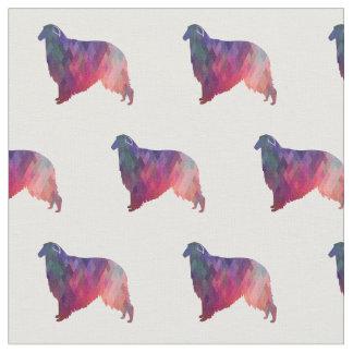 Borzoi Dog Geometric Pattern Silhouette Pink Fabric