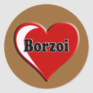 Borzoi Dog on Heart for dog lovers Classic Round Sticker