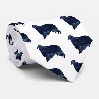Borzoi Dog Silhouette Black Watercolor Tie