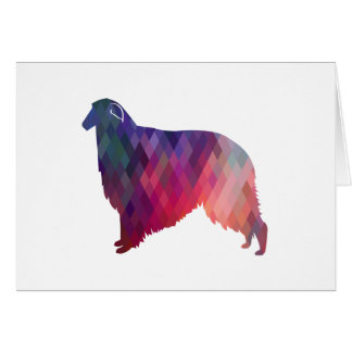 Borzoi Geometric Pattern Dog Silhouette Pink Card
