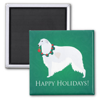 Borzoi Happy Holidays Design Magnets