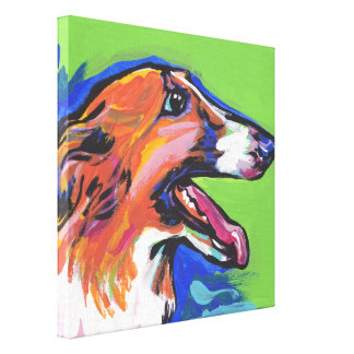 Borzoi Hound Pop Dog Art on Wrapped Canvas