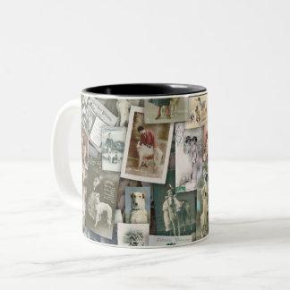 Borzoi: old postcards Two-Tone coffee mug