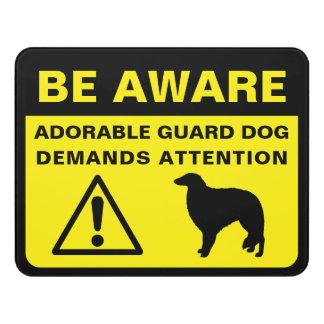 Borzoi Silhouette Funny Guard Dog Warning Door Sign
