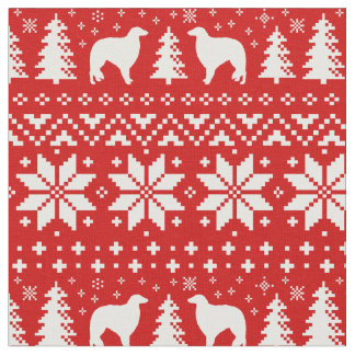 Borzoi Silhouettes Christmas Pattern Red Fabric