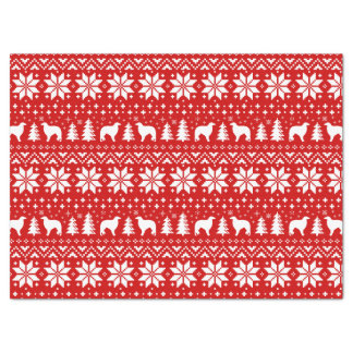 Borzoi Silhouettes Christmas Pattern Red Tissue Paper
