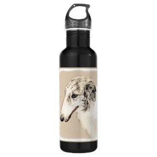 Borzoi (Silver Brindle) Painting Original Dog Art 710 Ml Water Bottle