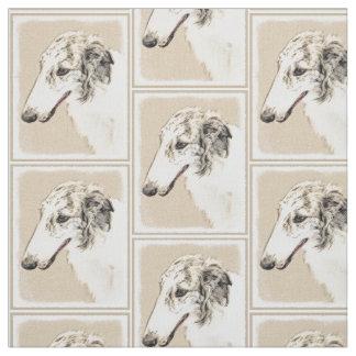 Borzoi (Silver Brindle) Painting Original Dog Art Fabric