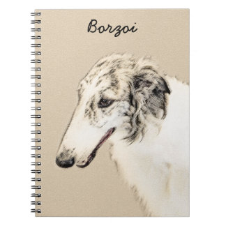 Borzoi (Silver Brindle) Painting Original Dog Art Notebook