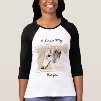 Borzoi (Silver Brindle) Painting Original Dog Art T-Shirt