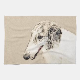 Borzoi (Silver Brindle) Painting Original Dog Art Tea Towel