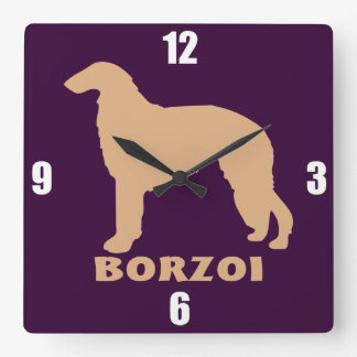Borzoi Square Wall Clock