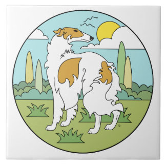 Borzoi Stylised (3Qtr Rear) Large Square Tile