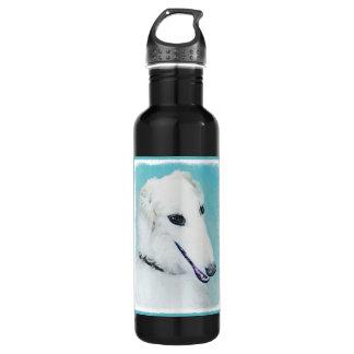 Borzoi (White) Painting - Cute Original Dog Art 710 Ml Water Bottle