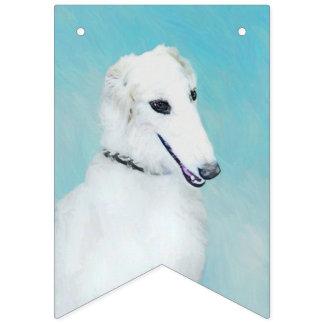 Borzoi (White) Painting - Cute Original Dog Art Bunting