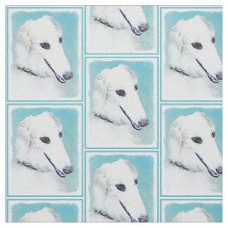 Borzoi (White) Painting - Cute Original Dog Art Fabric