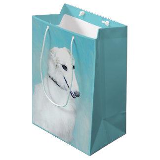Borzoi (White) Painting - Cute Original Dog Art Medium Gift Bag