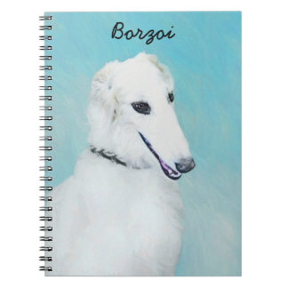 Borzoi (White) Painting - Cute Original Dog Art Notebooks
