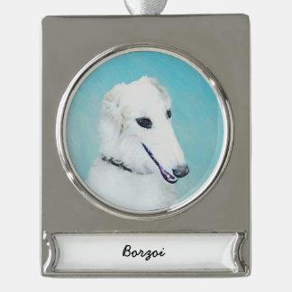 Borzoi (White) Painting - Cute Original Dog Art Silver Plated Banner Ornament