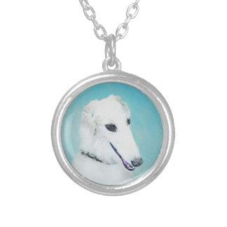 Borzoi (White) Painting - Cute Original Dog Art Silver Plated Necklace